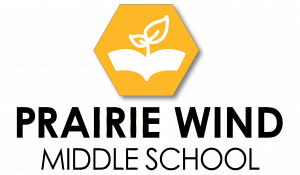 PWMS Logo - This logo signifies a book that also looks like rolling prairie hills. The small plant coming out of the book insinuates the growth that students experience while in middle school.